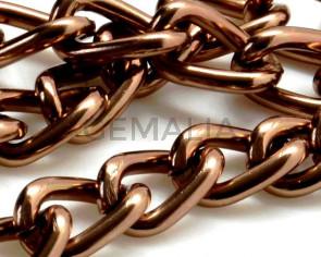 Aluminium. Chain. 11x6.8x1.8mm. Dark brown.