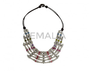 NECKLACE leather cord-zamak-resin
