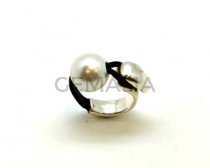9991027 FINGER RING Zamak - Leather cord - Pearl