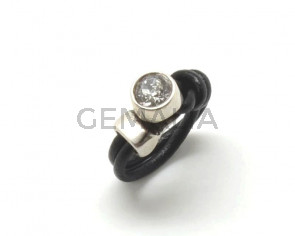G001034 FINGER RING Leather cord - Zamak - Swarovski