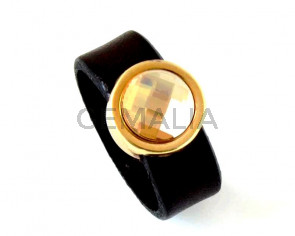 G009037 FINGER RING Leather Cord - Zamak - Swarovski