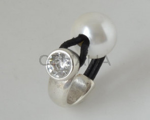 G009062 FINGER RING Leather Cord - Zamak - Swarovski - Pearl