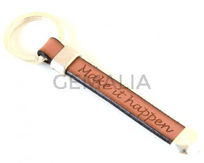 G014021 KEYRING Leather Cord - Zamak