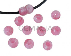 Round Resin 7x7x5mm. Marbled pink. Inn.3mm aprox. Best Quality.