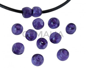 Round Resin 7x7x5mm. Marbled purple. Inn.3mm aprox. Best Quality.