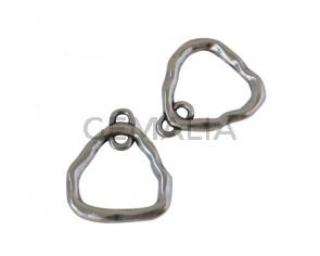 Zamak Earring component triangule. 20x20mm. Silver. Inn.2mm