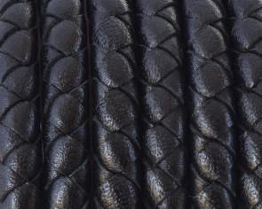 Round braided leather cord 5mm black snake - Best Quality