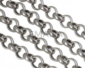 Brass Rolo chain 10x10mm. Silver
