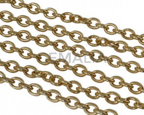 Oval Brass chain 7.5x6mm. Gold