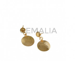 Coin earrings 21mm. Brass. Gold