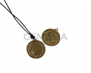 Coin pendant 20x20mm. Brass. Gold. Inn.1.2mm