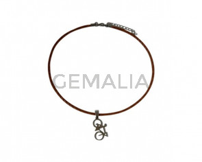 NECKLACE leather cord-stainless steel