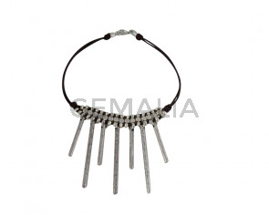 NECKLACE leather cord-zamak