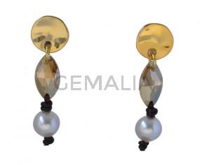 EARRINGS  Zamak -leather cord- pearl- Swarovski