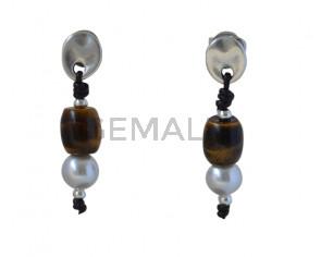 EARRINGS  Zamak -leather cord- pearl- TIGER EYE