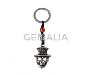 KEY RING leather cord-zamak-glass