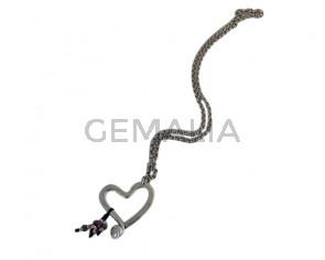 NECKLACE leather cord-zamak-resin