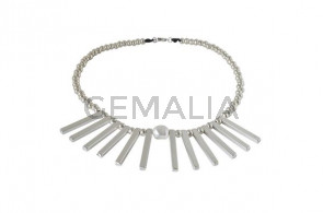 NECKLACE leather cord-zamak-pearl