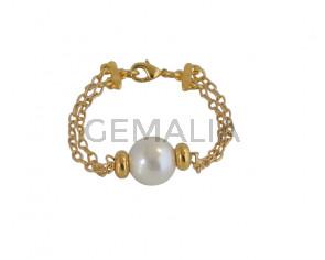 BRACELET brass-pearl
