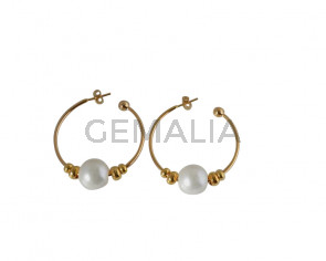 EARRINGS brass-pearl