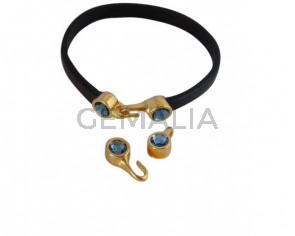 SWAROVSKI clasp with end cap. 2 pieces set 6x15mm-6x11mm. Gold-Denim Blue. Inn.5x2mm