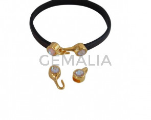 SWAROVSKI clasp with end cap. 2 pieces set 6x15mm-6x11mm. Gold-Cappuccino Delite. Inn.5x2mm