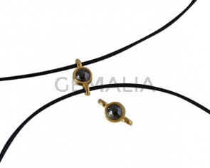 Swarovski and metal connector 10x5mm. Gold-Jet Hematite Pearl.Inn.2m