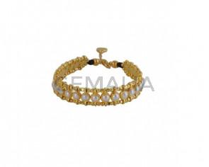 BRACELET gold Swarovski pearls