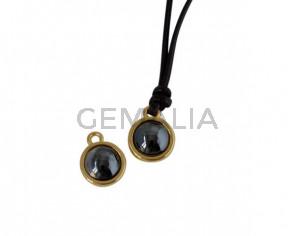 Swarovski and metal pendant coin 9x5x9.5mm. Gold-Jet Hematite Pearl. Inn1.8mm