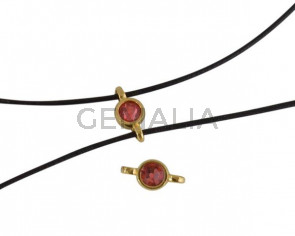 Swarovski and metal connector 10x5mm. Gold-Padparadcha.Inn.2m