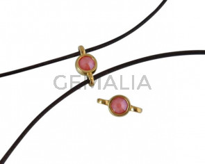 Swarovski and metal connector 10x5mm. Gold-Light Coral.Inn.2m
