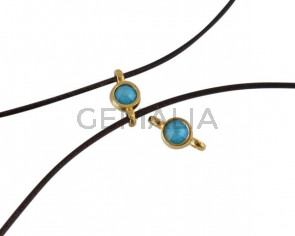 Swarovski and metal connector 10x5mm. Gold-Azure Blue.Inn.2m