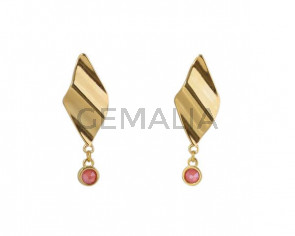 EARRINGS Gold zamak and Sawrovski