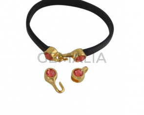 SWAROVSKI clasp with end cap. 2 pieces set 6x15mm-6x11mm. Gold-Padparadscha. Inn.5x2mm