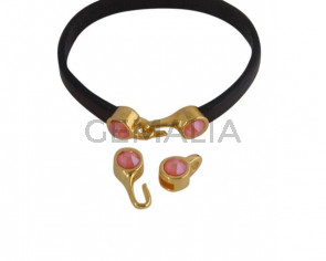 SWAROVSKI clasp with end cap. 2 pieces set 6x15mm-6x11mm. Gold-Light Coral. Inn.5x2mm