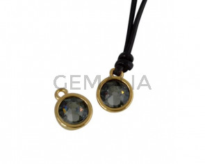 Swarovski and metal pendant coin 9x5x9.5mm. Gold-Black Diamond. Inn1.8mm