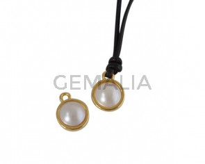 Swarovski and metal pendant coin 9x5x9.5mm. Gold-Cream Pearl. Inn1.8mm