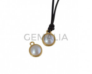 Swarovski and metal pendant coin 9x5x9.5mm. Gold-Grey Light Pearl. Inn1.8mm