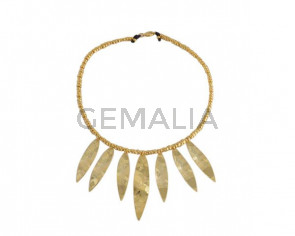 NECKLACE Golden brass beads and pendants