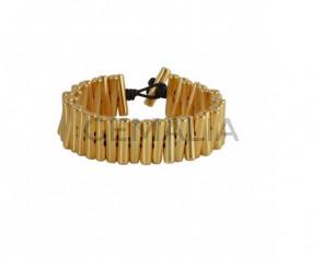 BRACELET Golden brass beads
