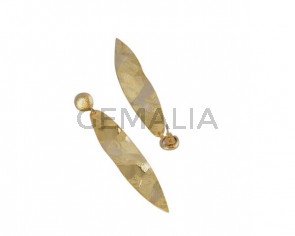 Leaf earrings Brass 62x14mm. Gold. Top Quality