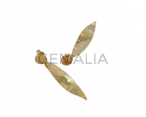 Leaf earrings Brass 46x11mm. Gold. Top Quality