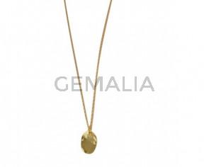 NECKLACE Oval pendant golden brass