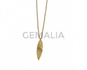 NECKLACE Leaf pendant golden brass