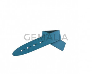 Leather cord strand for buckle clasp 230x20mm. Blue turquoise-black edges. Best Quality