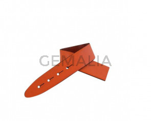 Leather cord strand for buckle clasp 230x20mm. Orange-black edges. Best Quality