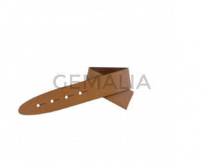 Leather cord strand for buckle clasp 230x20mm. Light brown-black edges. Best Quality