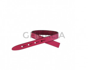 Leather cord strand for buckle clasp 230x10mm. Fuchsia-black edges. Best Quality
