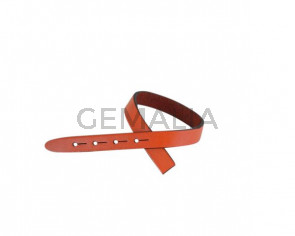 Leather cord strand for buckle clasp 230x10mm. Orange-black edges. Best Quality