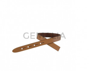 Leather cord strand for buckle clasp 230x10mm. Light brown-black edges. Best Quality